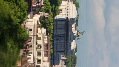 Vertical shot of Times-lapse of the Palace of Justice and San Giovanni dei Fiore Footage