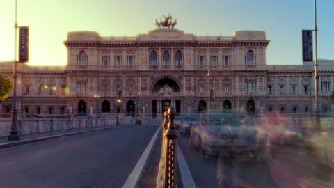 Time-lapse shot of the Palace of Justice from the bridge at sunset. Cropped Footage