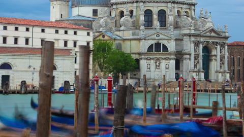 Time-lapse of Santa Maria della Salute from Saint Mark's Square. Cropped Footage