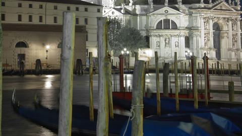 Time-lapse at night of Santa Maria della Salute from Saint Mark's Square. Croppe Footage