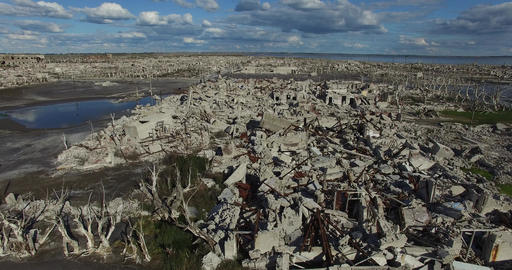 Aerial drone scene of destroyed city by natural catastrophe. Camera starts at gr Live Action