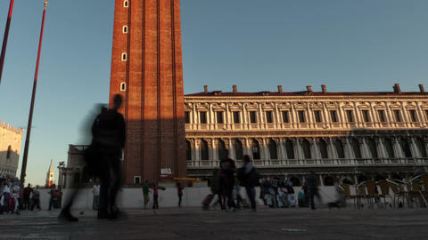 Time-lapse of the tower in Saint Mark's Square as sunset shadows grow. Cropped Footage