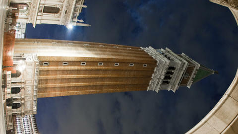 Vertical time-lapse of the tower in Saint Mark's Square at night Footage