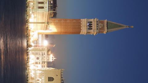 Vertical shot of Saint Mark Square time-lapse at night from San Giorgio Live Action