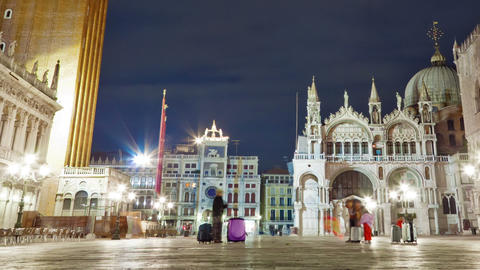 Nigthtime Saint Mark Square time-lapse in the square. Cropped Live Action