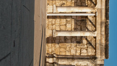 Vertical shot of Dolly time-lapse of the old synagogue in Capernuam, Israel Footage