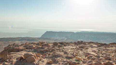 Panning shot of Daytime time-lapse at Masada, Israel Live Action