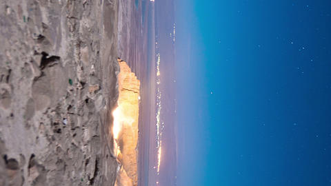 Vertical shot of Night time-lapse at Masada Footage