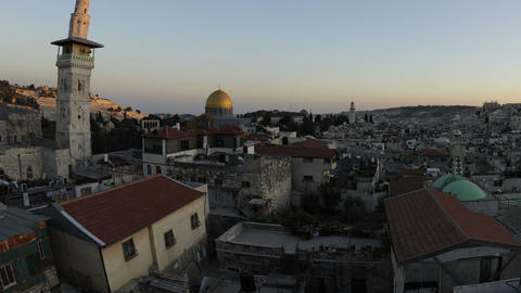 Panning shot of Tracking time-lapse of Jerusalem and the Dome of the Rock at sun Footage