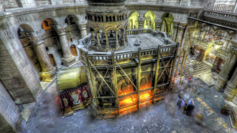 Panning shot of Shot of the Edicule of the Holy Sepulchral time-lapse of tourist Footage