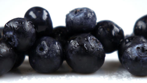Close up slow pan across blueberries Footage