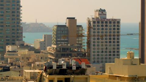 Stock Video Footage of Tel Aviv and the Mediterranean Sea shot in Israel at 4k w Footage
