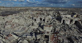 Aerial drone scene of destroyed city by natural catastrophe. Camera flys through Footage