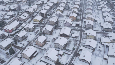 Aerial - Suburban houses in winter season Footage