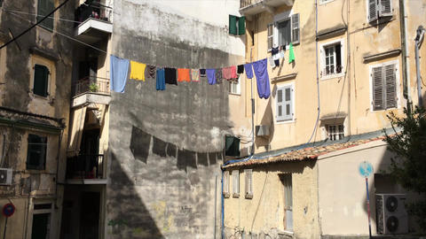 Line-Dried Colored Laundry Waving on the Rope Footage