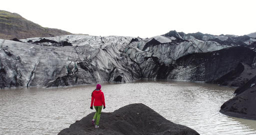 Climate change and Global warming - Person walking on glacier on Iceland Footage