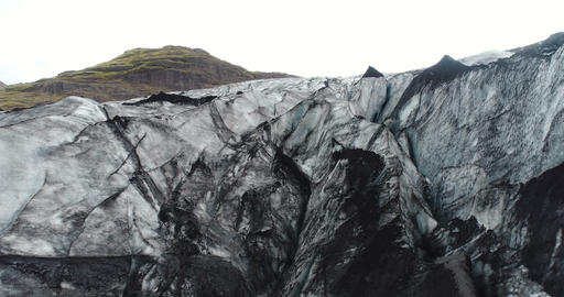 Glacier Iceland landscape of Solheimajokull beautiful nature aerial drone video Live Action