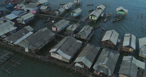 Settlement of fishermen on the water Live Action