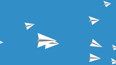 Flying paper airplanes animated background loop Animation