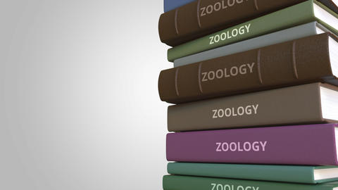 Book with ZOOLOGY title, loopable 3D animation Live Action
