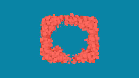 Behind the squares appears the symbol teeth. In - Out. Alpha channel Animation