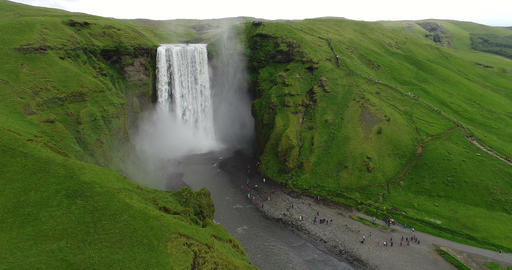 Iceland Aerial drone video of waterfall Skogafoss in Icelandic nature ビデオ
