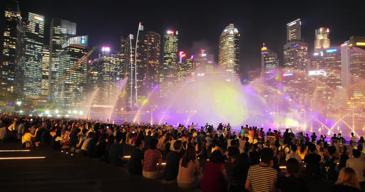 Singapore water show at night Footage