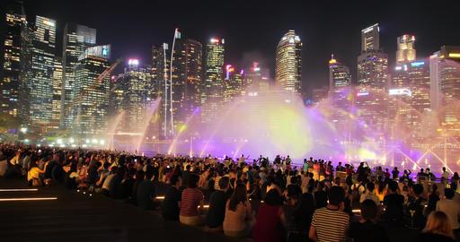 Singapore water show at night ビデオ