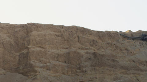 Royalty Free Stock Video Footage panorama of Mount Masada shot in Israel at 4k w Footage