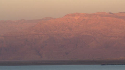 Royalty Free Stock Video Footage of Dead Sea and mountains at sunset shot in Isr Footage