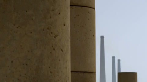 Royalty Free Stock Video Footage of ancient columns and smokestacks shot in Isra Footage