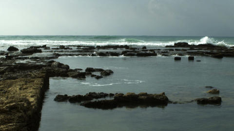 Stock Video Footage of the ruins of an ancient pool on the seashore shot in Isra Footage