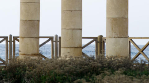 Royalty Free Stock Video Footage of old columns on the seashore shot in Israel a Footage