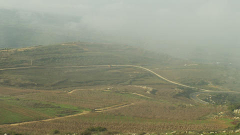 Stock Video Footage panorama of pastoral hills and clouds shot in Israel at 4k w Footage