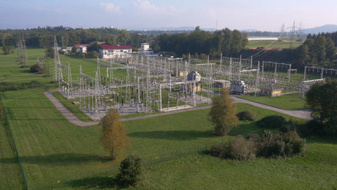 Aerial - Distant shot of power substation Footage