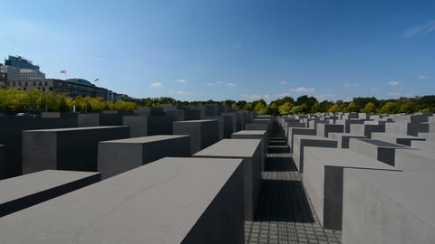 Panoramic view of the Memorial to the Murdered Jews of Europe, also known as the Footage