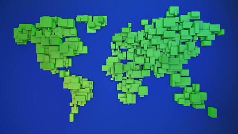 World map formed by scaling 3d cubes background loop Animation