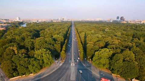 Aerial view of Berlin, Germany at sunset. View from the Victory Column Footage
