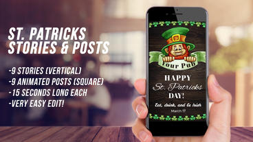 St. Patricks Stories and Posts Plantilla de After Effects