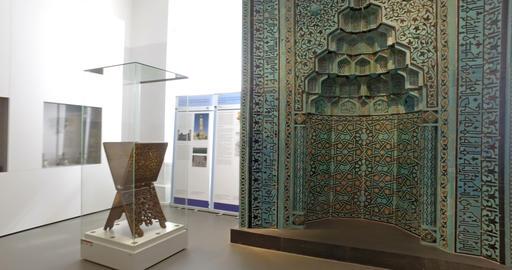 Berlin, Germany. Circa May 2018. Tourists watching islamic art in Pergamon Footage