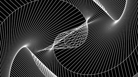 Geometric white lines on a black background evolving structure loop Animation