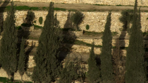 Royalty Free Stock Video Footage of terraced Kidron Valley walls filmed in Israe Footage