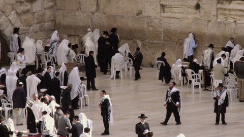 Royalty Free Stock Video Footage of Jews at the Western Wall filmed in Israel at Footage