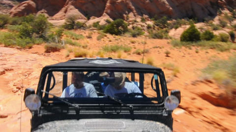 Camera attached to a Jeep driving in Moab Footage