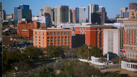 Daytime footage of streets and buildings of downtown Dallas Footage