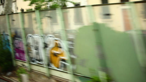 Tracking shot of Italian town graffiti and buildings Footage
