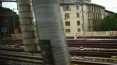 Tracking shot of Firenze S.M.N. railway tracks Footage