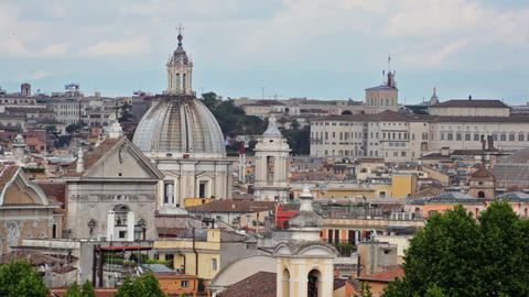 Rooftop footage of Rome, including a minor church and dome Footage