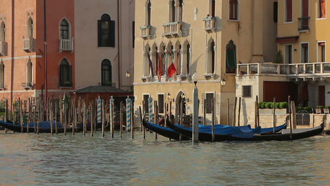 Gondolas and houses in Venice Footage