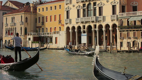 Gondolas on a canal in Venice Footage